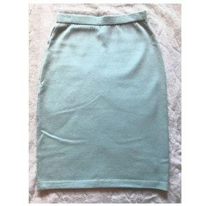St. John Collection Mint Green Knit Skirt | 2